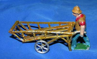 2 Vtg 1930's France Lead Figures, Workman With Hand Truck, Xmas Putz Village