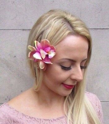 Double Light Ombre Pink Orchid Flower Hair Clip Rockabilly 1950s Fascinator 4047