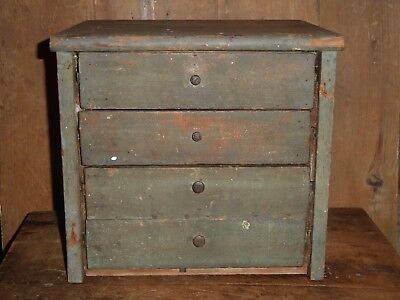 19th C EARLY OLD ORIGINAL COLONIAL BLUE / SAGE GREEN PAINT CHEST OF DRAWERS