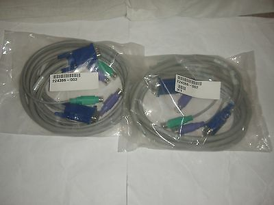 Compaq 224386 KVM (Keyboard Video Mouse) PS2 VGA Server Console Extension Cables