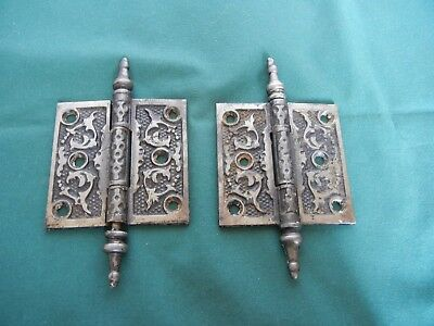 """LOT of 2 ANTIQUE CAST IRON STEEPLE PIN HINGES 3"""" x 3"""""""