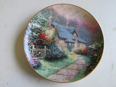 """Knowles Thomas Kinkade's Enchanted Cottages """"Rose Garden Cottage"""" Plate, COA"""