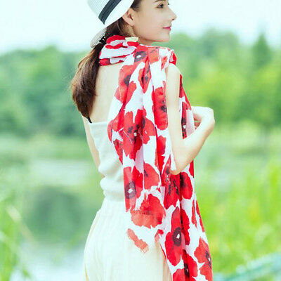 Quality Wrap Flower Printed Beach Scarves Scarf Stole Shawl Red Poppy Long