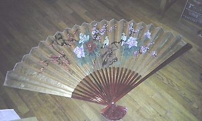 Vintage Large Asian Oriental Gold RED Lacquer Fan Wall Decor Hand Painted