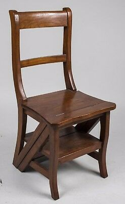 """Rare Fruitwood """"Metamorphic"""" Chair/Ladder - Antique - Beautiful Stained Wood"""