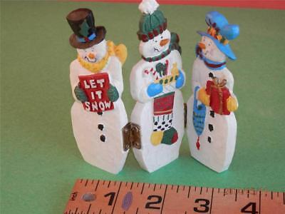 3 HAND PAINTED SNOWMEN hinged together to stand ADORABLE  Each holding XMAS item
