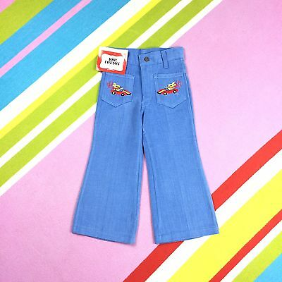 70s Vtg KIDS Denim Flares Children's Bell Bottoms Blue Jeans Trousers 2 3 Yrs