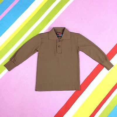 Monsanto Vtg 70s Kids Brown Sweater Top Long Sleeve Polo Shirt 1-2 Years 22 NEW