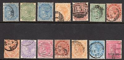 MAURITIUS: 14 x QV stamps - mint or used (HW102)