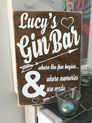 Personalised Gin Bar Party Drink Novelty Gift Wooden Hanging Plaque Sign Wood