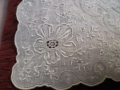 """Appenzell Hand Embroidery 11"""" Wedding Bridal Hankerchief Hanky Needlelace fill"""