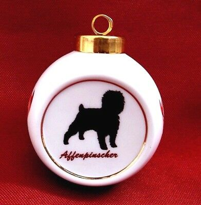 Affenpinscher Dog White Porcelain Round Christmas Theme Ornament Handpainted