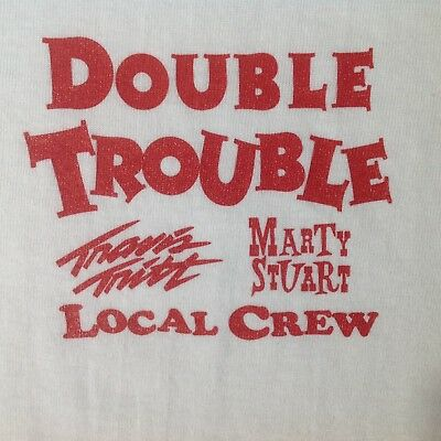 VTG TRAVIS TRITT MARTY STUART T Shirt DoubleTrouble New NBW Rare 1996 Local Crew