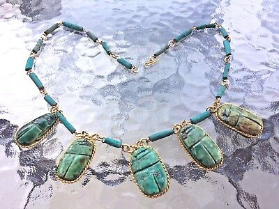 Antique Egyptian  Framed Carved Green Stone Dangle SCARAB Beetle Necklace 23""