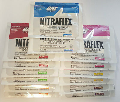 GAT Nitraflex 14 Trial Packets Variety Pack 7 Different Flavors