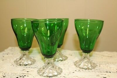 Vintage Anchor Hocking Bubble Swirl Footed Sherbet Glasses - Forest Green