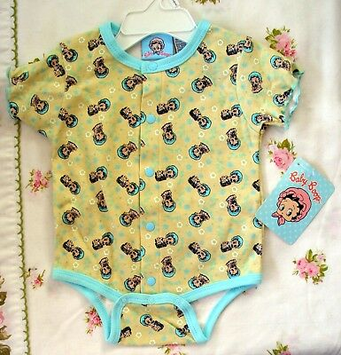 Betty Baby Boop - Infant Bodysuit - Size 3-6 Months - Nwt - Only One!  Ylw/aqua
