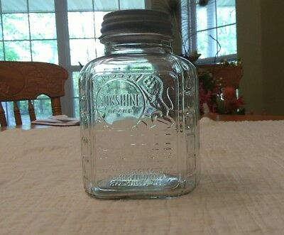 Vintage Sunshine Brand Coffee Jar Springfield Mo 1Lb Strong Lion W/zinc Lid #7