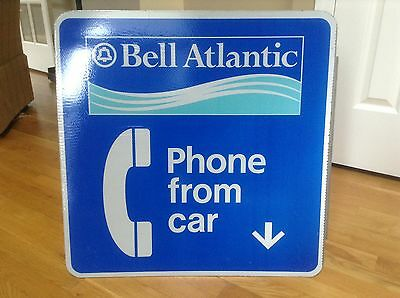 Bell Atlantic Double Sided Phone From Car Flange Sign 24 X 24
