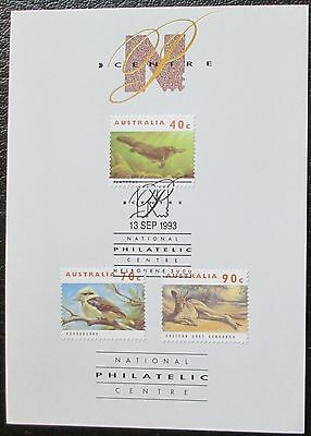 1993 National Philatelic Centre Souvenir Card - Australian Wildlife Stamps
