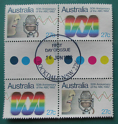 1982 50th Anniversary of ABC Gutter Block of 4 with First Day of Issue Postmark