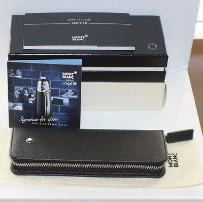 Montblanc UNICEF Black SAFFIANO Leather 149 Zip Pen Case Pouch New in Box RARE
