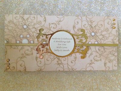 Handmade Personalised Wedding voucher Money wallet Wishing Well envelope Gold