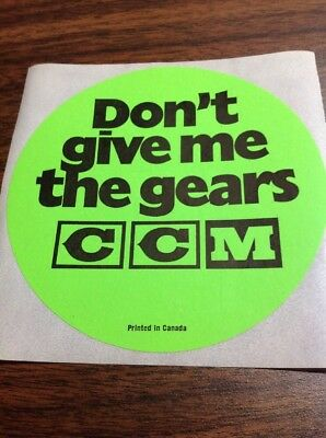 VINTAGE CCM BICYCLE GREEN 11 Cm ROUND DECAL