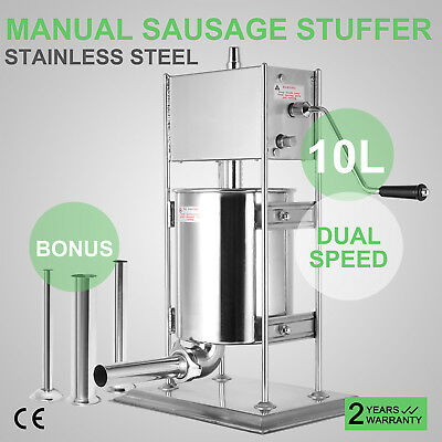 10L 23LB Industrial Vertical Sausage Stuffer Stainless Steel Dual Speed
