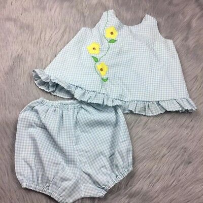 Vintage Toddler Girls Jcpenney Toddletime Blue Gingham Floral Top Bloomers Set