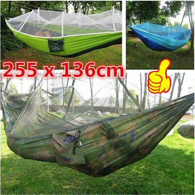 Top Portable High Strength Parachute Fabric Camping Hammock With Mosquito Net XA