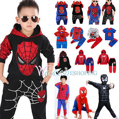 Kids Boys Spiderman Tracksuits Hoodies Tops + Pants Clothes Set Cosplay Costume