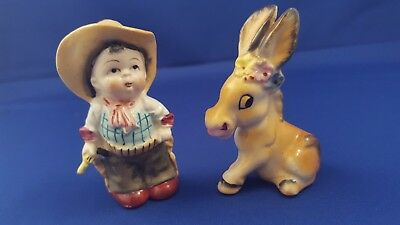 Rare Vtg Cowboy & Donkey/mule Salt Pepper Shakers Japan Cork Stoppers Old