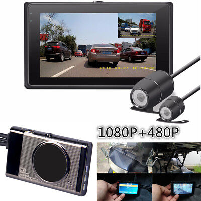 New Motorcycle Camera DVR HD 1080P+480P Front+Rear View VGA Cam Waterproof