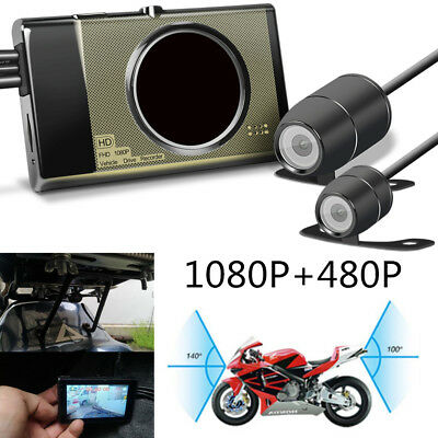 Universal HD Dual Motorcycle Cameras Kit DVR Recorder Front+Rear View Waterproof