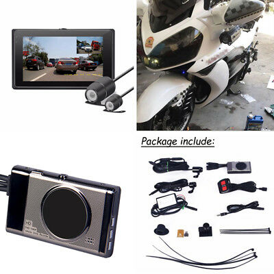 Waterproof Dual Lens Motorcycle Bike Camera Screen DVR Front+Rear View Recorder