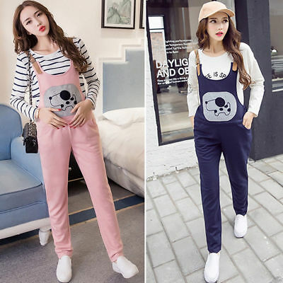 Cute Dog Overalls Pants Maternity Jumpsuits Dugarees Trousers Comfy M/L/XL/2XL
