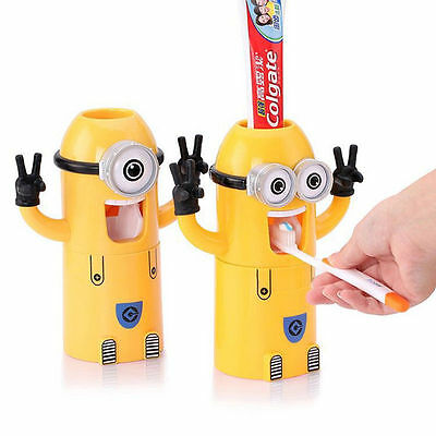 Minions Toothbrush Holder Toothpaste Stand Wall Mount Dispenser Bathroom Set New