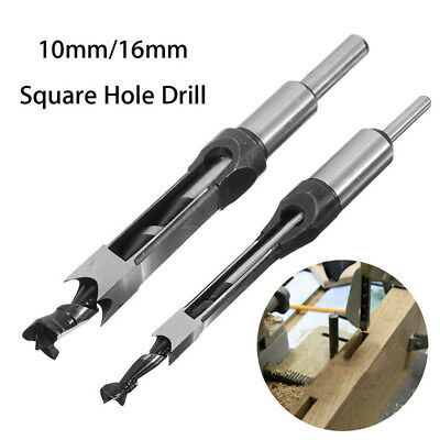 10mm/16mm Square Hole Saw Auger Drill Bit Mortising Chisel Woodworking Tool XA
