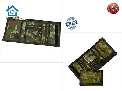 Army Camouflage Nylon Velcro Trifold Importad Kids Wallets for Boys Camo Hunting
