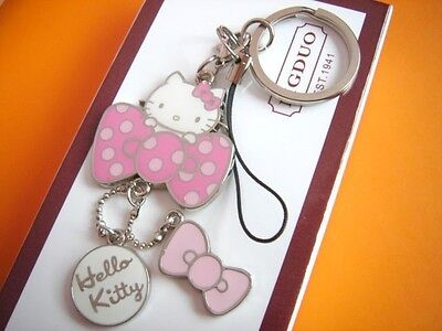 Cat key chain ring anime pink bow cute gift woman girl for bag purse car