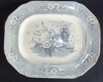 Large Vintage Staffordshire Ironstone Meat Plate Platter Indian Blue White