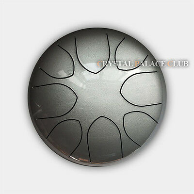 """9"""" Steel Tongue Drum/Kong Drum (Bag included)-C Major Natural Scale Silver"""