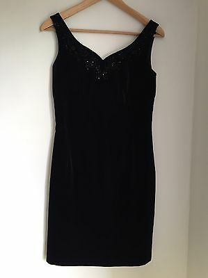 Laura Ashley Black Velvet Cocktail Party Evening Dress Size 10
