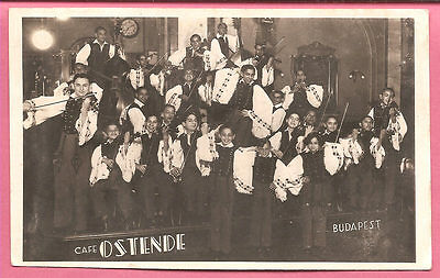 String Orchestra, Café Ostende, Budapest, Hungary postcard. Real Photo.