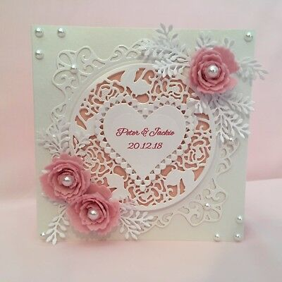 Handmade Wedding Card **PERSONALISED**   Beautiful Filigree Design 3D