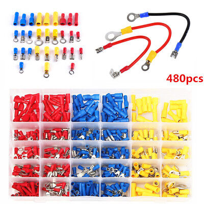 Assorted Crimp Terminal Insulated Electrical Wire Connector Spade Kit Box 480X