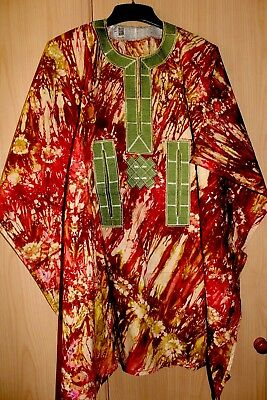 New Unique West African fully embroidered Danshiki top & tye dye Mens~Orange Mix