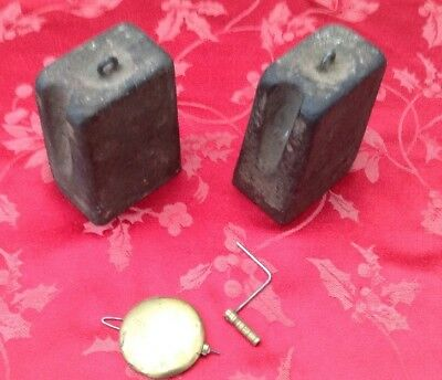 Pair Seth Thomas Cast Iron Weights Pendulum And Original Key From Seth Thomas