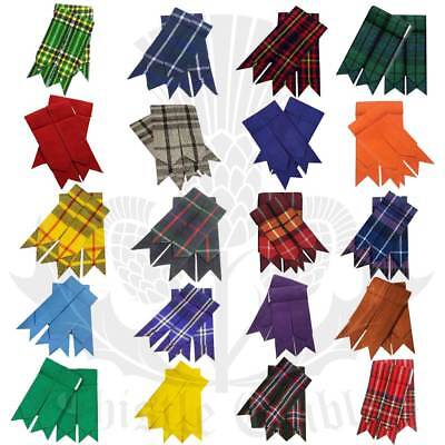 Scottish Kilt Hose Sock Flashes Various Tartan Garter Pointed Acrylic Wool Flash